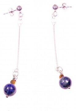Orecchini pendenti rigidi lapislazzuli Pendenti con barretta in argento 925 rodiata, terminale: piccola sfera occhio di tigre e lapislazzuli afgani blu