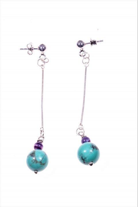 Orecchini pendenti rigidi turchese Pendenti con barretta in argento 925 rodiata, terminale: piccola sfera agata viola e sfera turchese cinese Ø 8 mm.