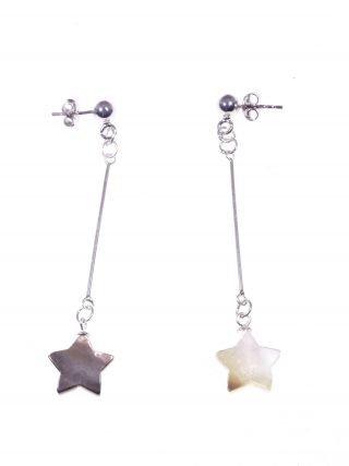 Orecchini pendenti rigidi madreperla stella Orecchini pendenti con barretta in argento 925 rodiata, terminale: stella in madreperla