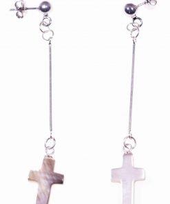 Orecchini pendenti rigidi madreperla Croce Orecchini pendenti con barretta in argento 925 rodiata, terminale: Croce in madreperla