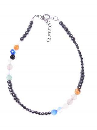 Bracciale minimal, ematite agata multicolor Bracciale semi rigido ematite naturale rondelle e sfere sfaccettate, agata multicolore, argento rodiato nero.