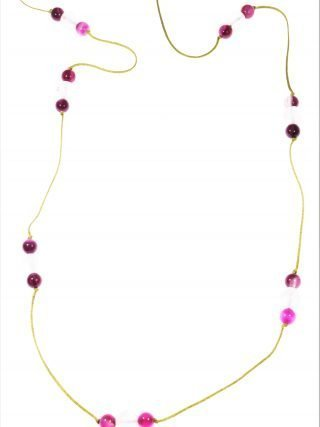 Collana cordino quarzo rosa, agataLinea MillaLunga collana con cordino colore verde acido sfere quarzo rosa e agata fucsia.. minimal jewels