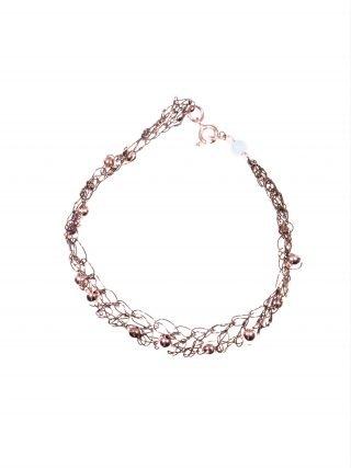 Bracciale uncinetto rame cioccolato, ematite, filo di rame colore cioccolato lavorato con l'uncinetto, chiusura argento rosa, sfere di ematite rosa
