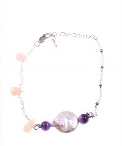 Bracciale rosario perla piatta Bracciale catena argento 925 con palline, filo argento pendenti pietre rosa, centrale perla piatta..