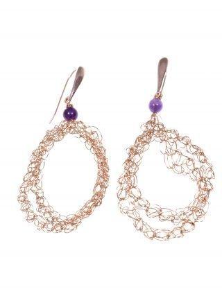 Orecchini uncinetto, ametista, argento rosa, Orecchini ovali in filo di rame lavorato con l'uncinetto, chiusura in argento placcato oro rosa, ametista.
