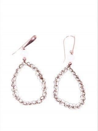 Orecchini uncinetto ovali, acquamarina, argento Orecchini ovale in filo di rame cioccolato lavorato con l'uncinetto, argento placcato oro rosa, acquamarina