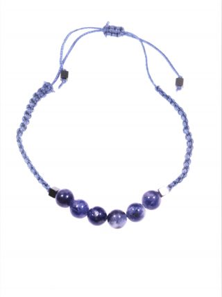 Bracciale macramè blu, Sodalite
