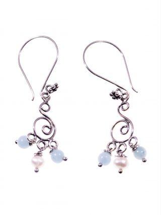 Orecchini chandeliers amazzonite perla