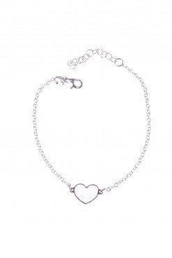 Bracciale argento con cuore bianco
