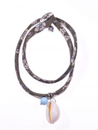 Bracciale-girocollo tessuto, Turchese e conchiglia tessuto con decori liberty, centrale sfera pasta di Turchese e conchiglia Cauri su argento rodiato,