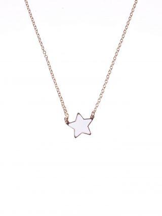Catenina argento rosa, stella bianca