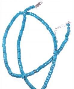 Girocollo turchese cinese, rondelle Girocollo a rondelle turchese cinese con colore tendente al verde, chiusura in argento rodiato. gioielli estate.