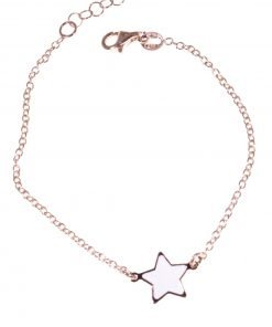 bracciale argento rosa, stella bianca