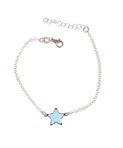 bracciale argento rosa, stella blu tiffany