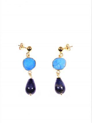 orecchini colorati, turchese e lapislazzuli, argento dorato