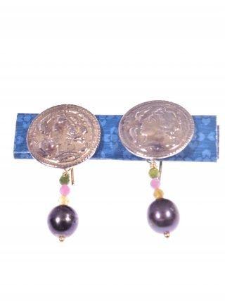orecchini moneta e perla nera