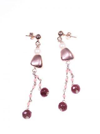 orecchini rosario opale,perla,giada rubellite