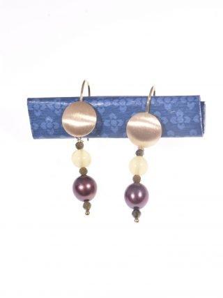 orecchini pendenti perla cioccolato