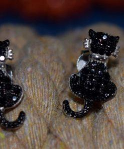 Orecchini argento, gatto zirconi neri