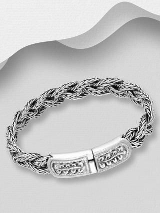bracciale uomo argento, maglia