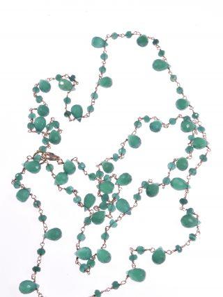 Collana rosario verde, argento rosa