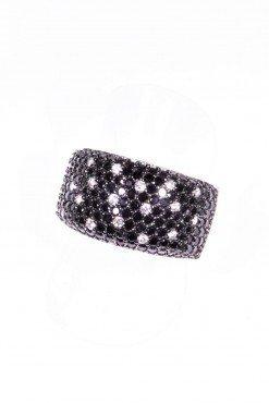 anello donna a fascia argento zirconi neri e bianchi