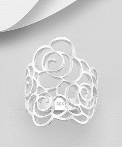 anello fascia filo argento, floreale rose