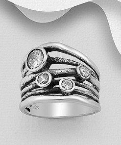 anello fascia argento ossidato, fili vita