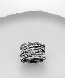 Anello fascia argento ossidato