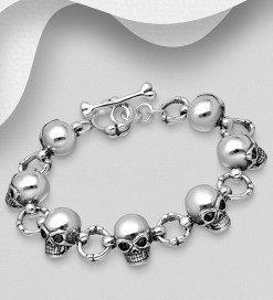 bracciale biker skull