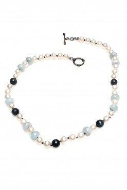 Collana perle acquamarina argento