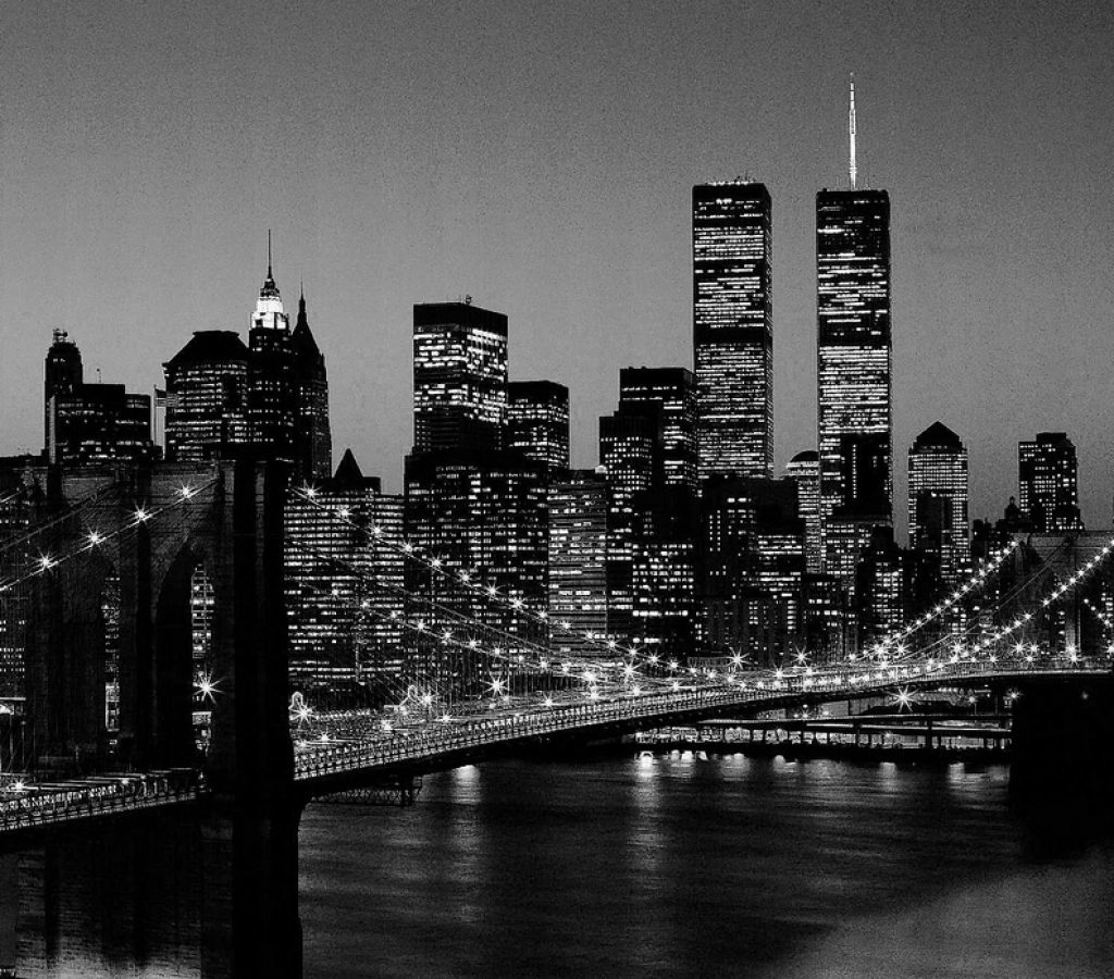 skyline bianco nero città
